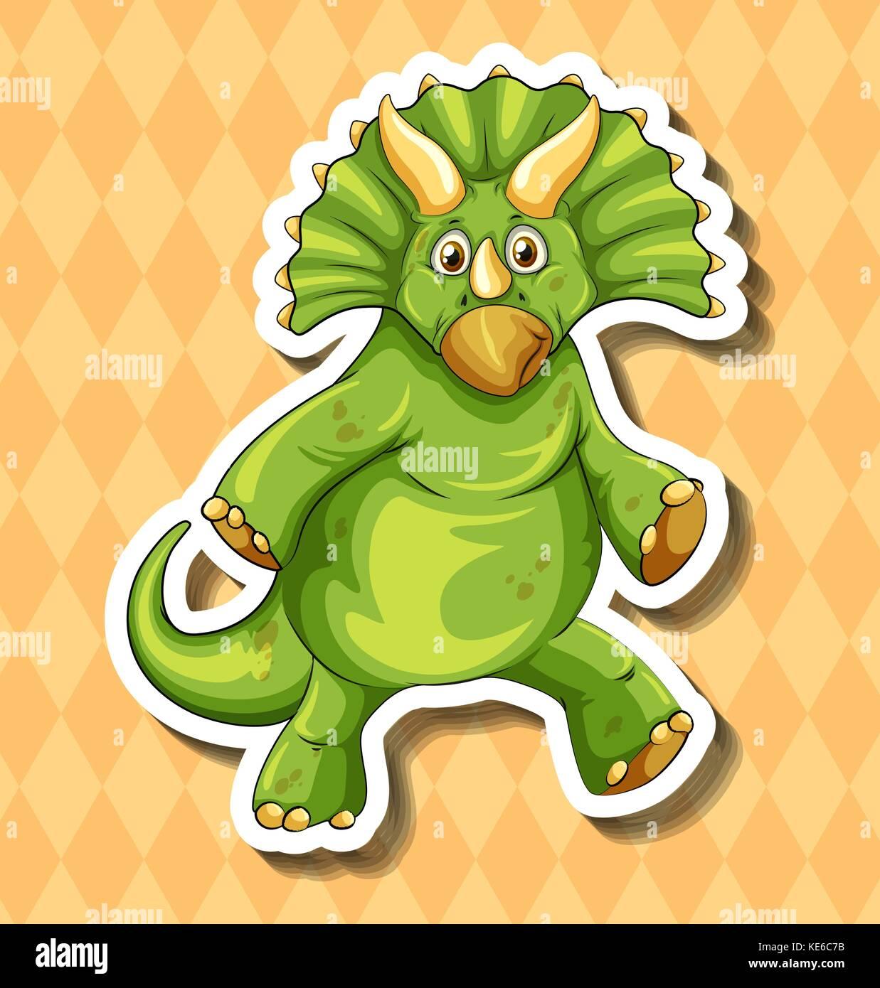 Green dinosaur on orange background illustration Stock Vector