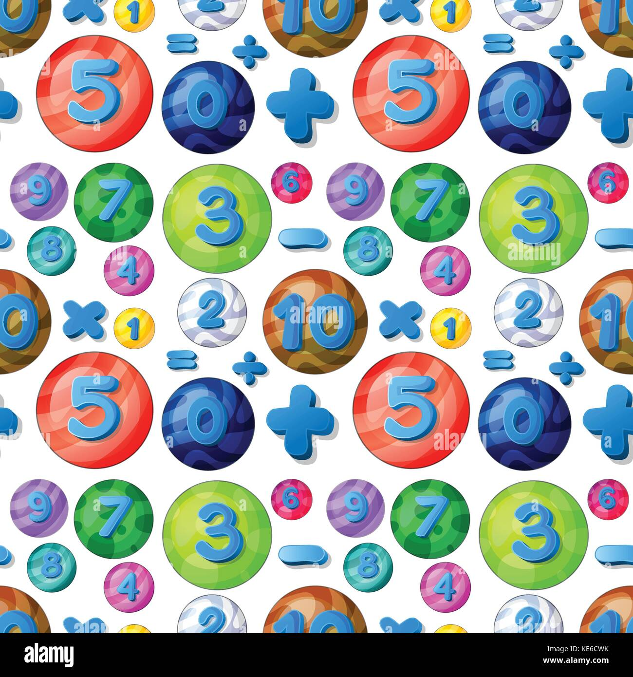 Seamless numbers in round bubbles illustration - Stock Image