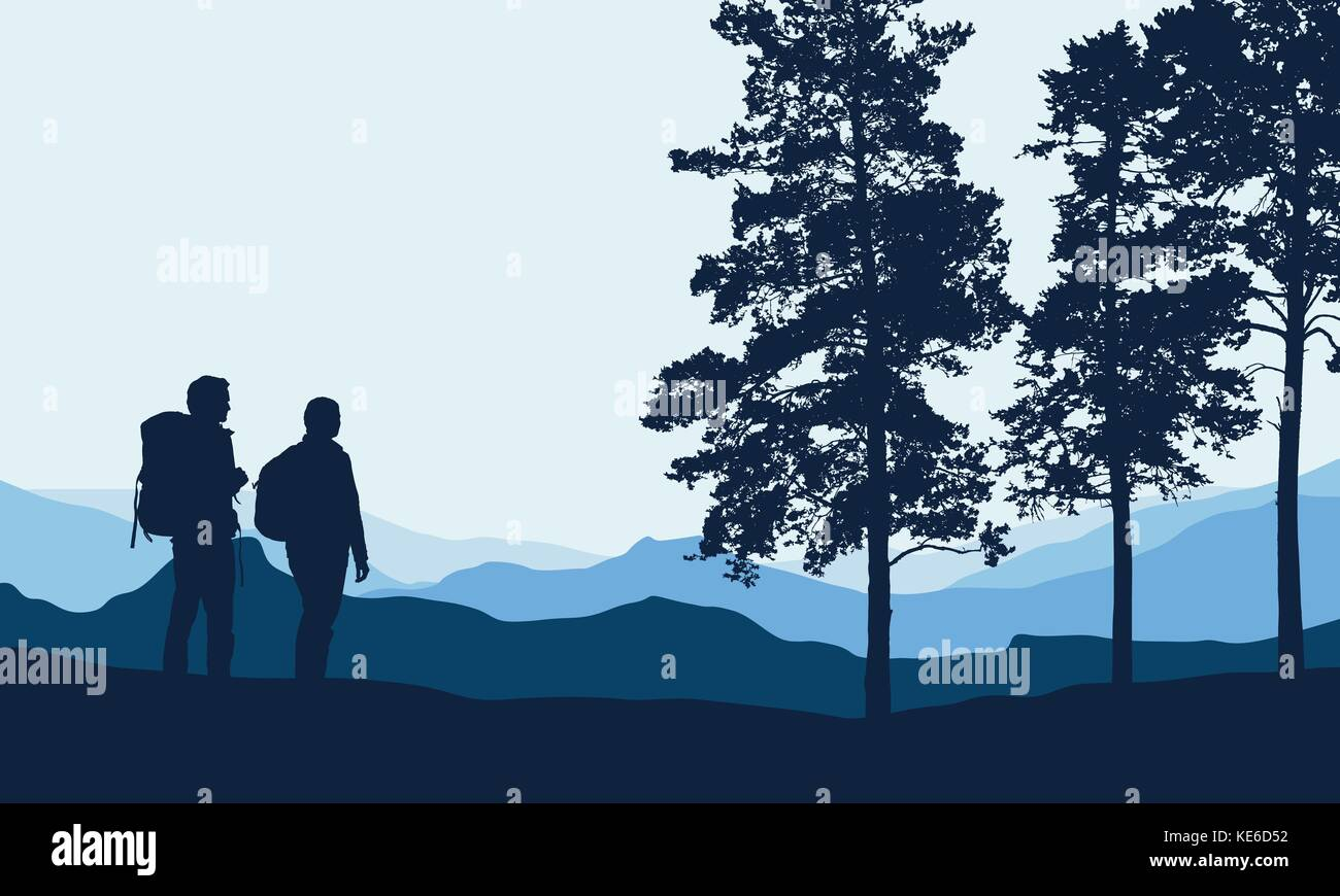Vector illustration of a mountain landscape with trees and a human being photographed under a blue-gray sky with - Stock Vector