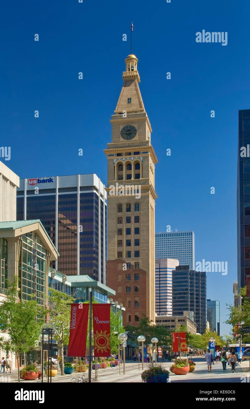 Daniels & Fisher Tower, 1910, at 16th Street Mall, Denver, Colorado, USA - Stock Image