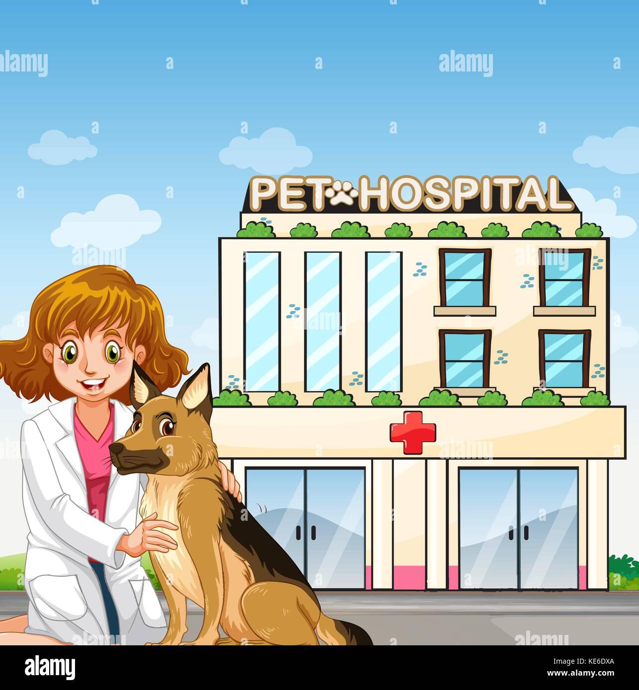 Vet and dog at teh animal hospital illustration - Stock Vector
