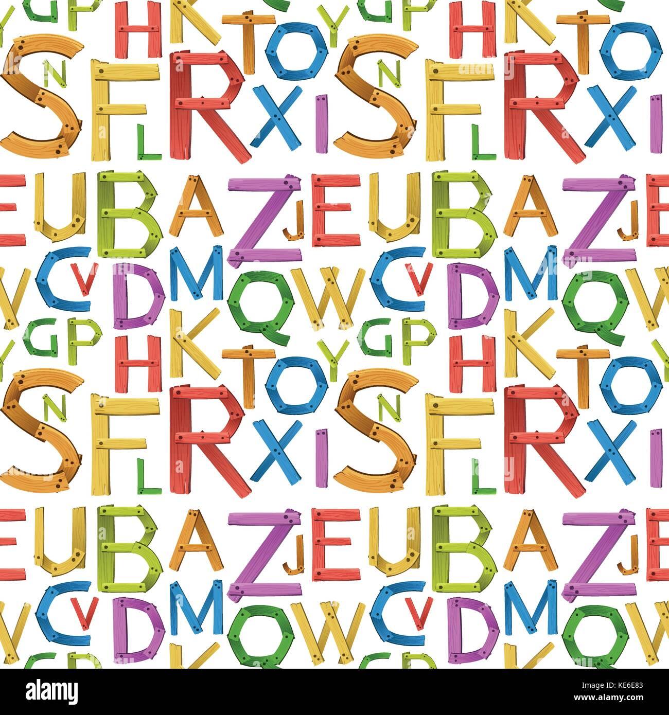 Seamless english alphabet a to z illustration - Stock Vector