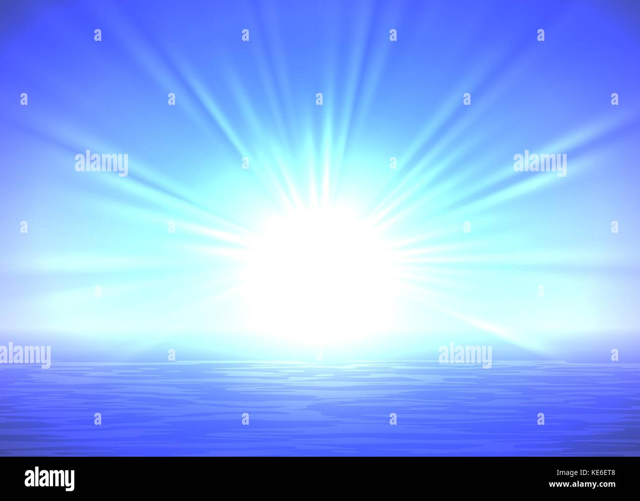 Abstract blue sunrise background, with light rays, vector Stock ...