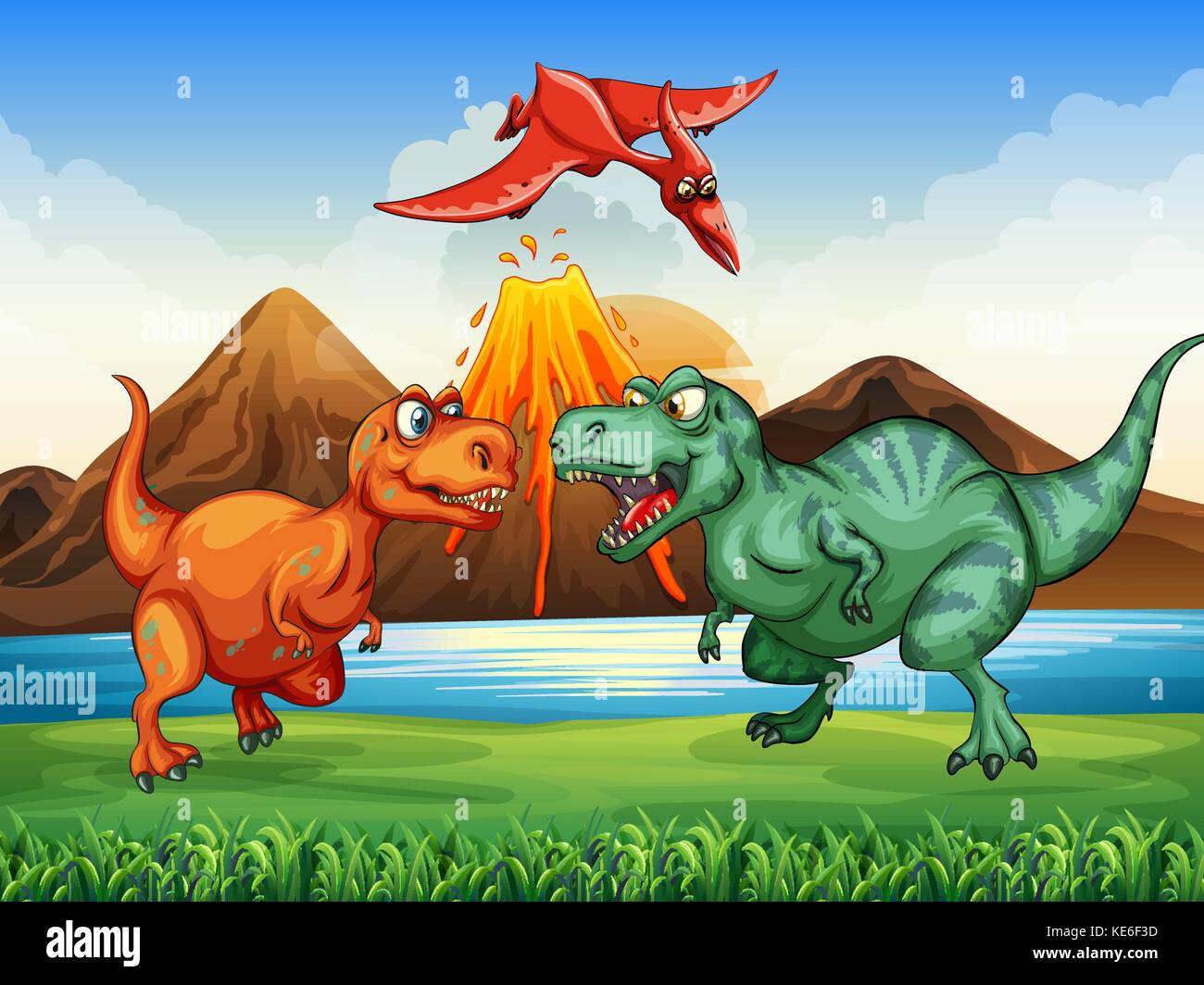 Dinosaurs fighting in the field illustration - Stock Vector