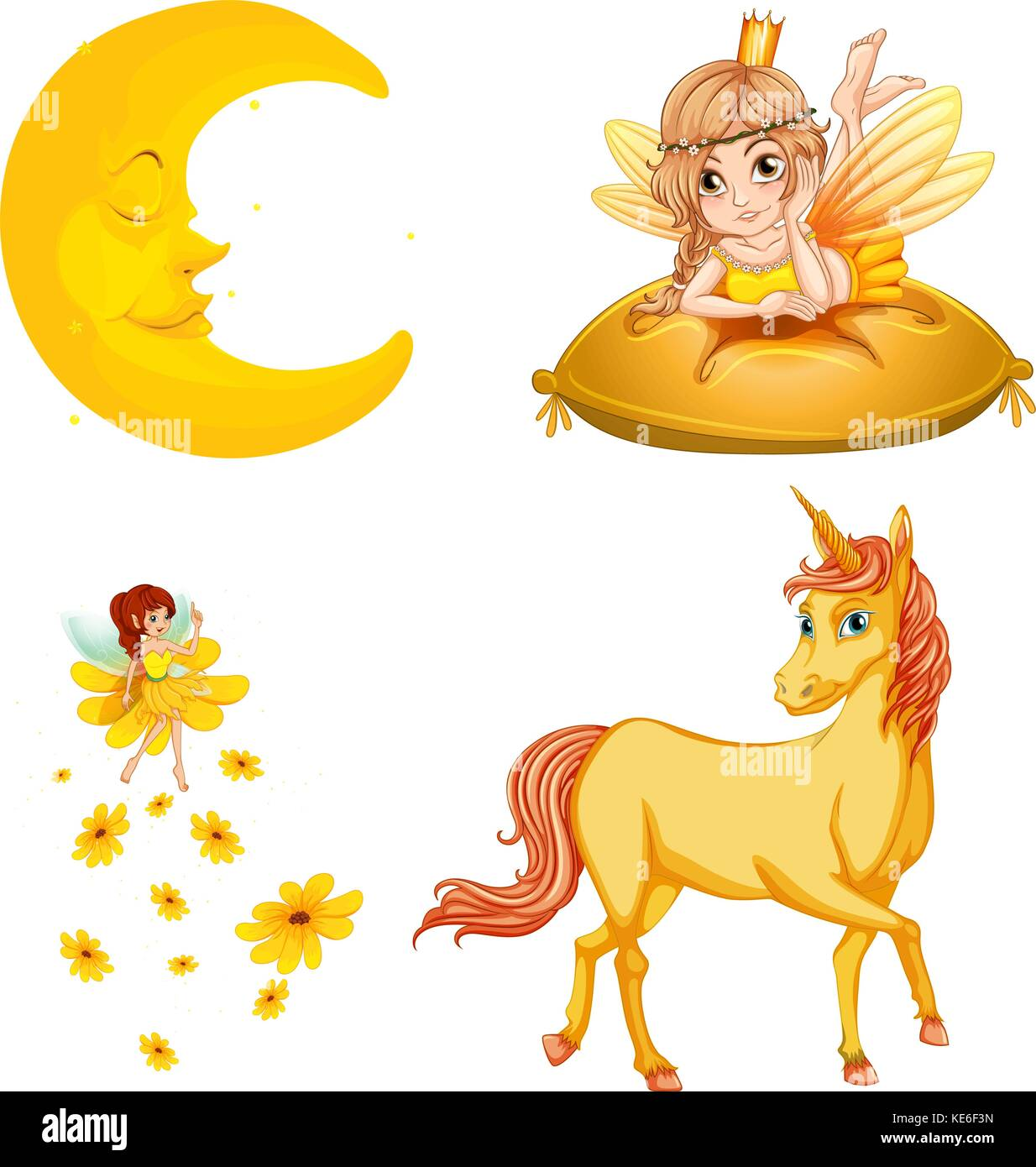 Fairy tales characters and moon illustration - Stock Image