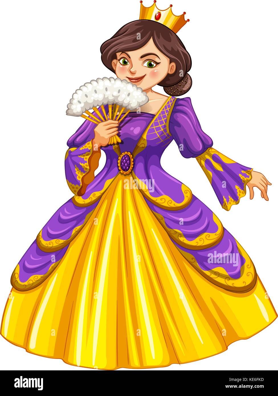 Queen wearing golden crown illustration - Stock Vector