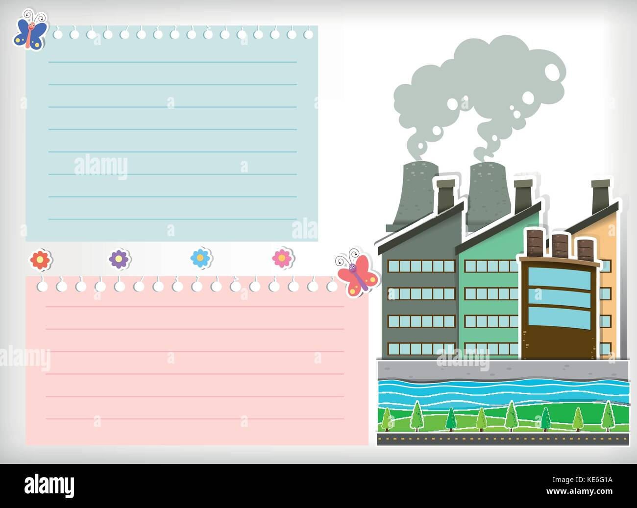 Paper design with park and factories illustration - Stock Vector