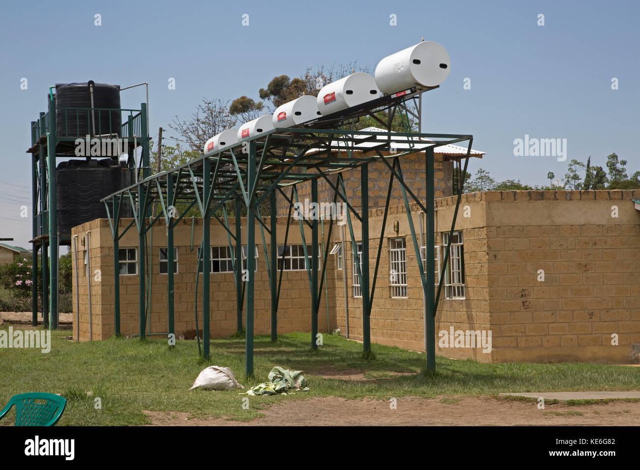 Large metal frame with solar water heaters Restart Africa Gilgil Kenya - Stock Image