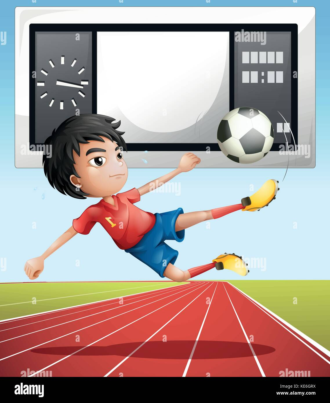 Soccer player in the field illustration - Stock Vector