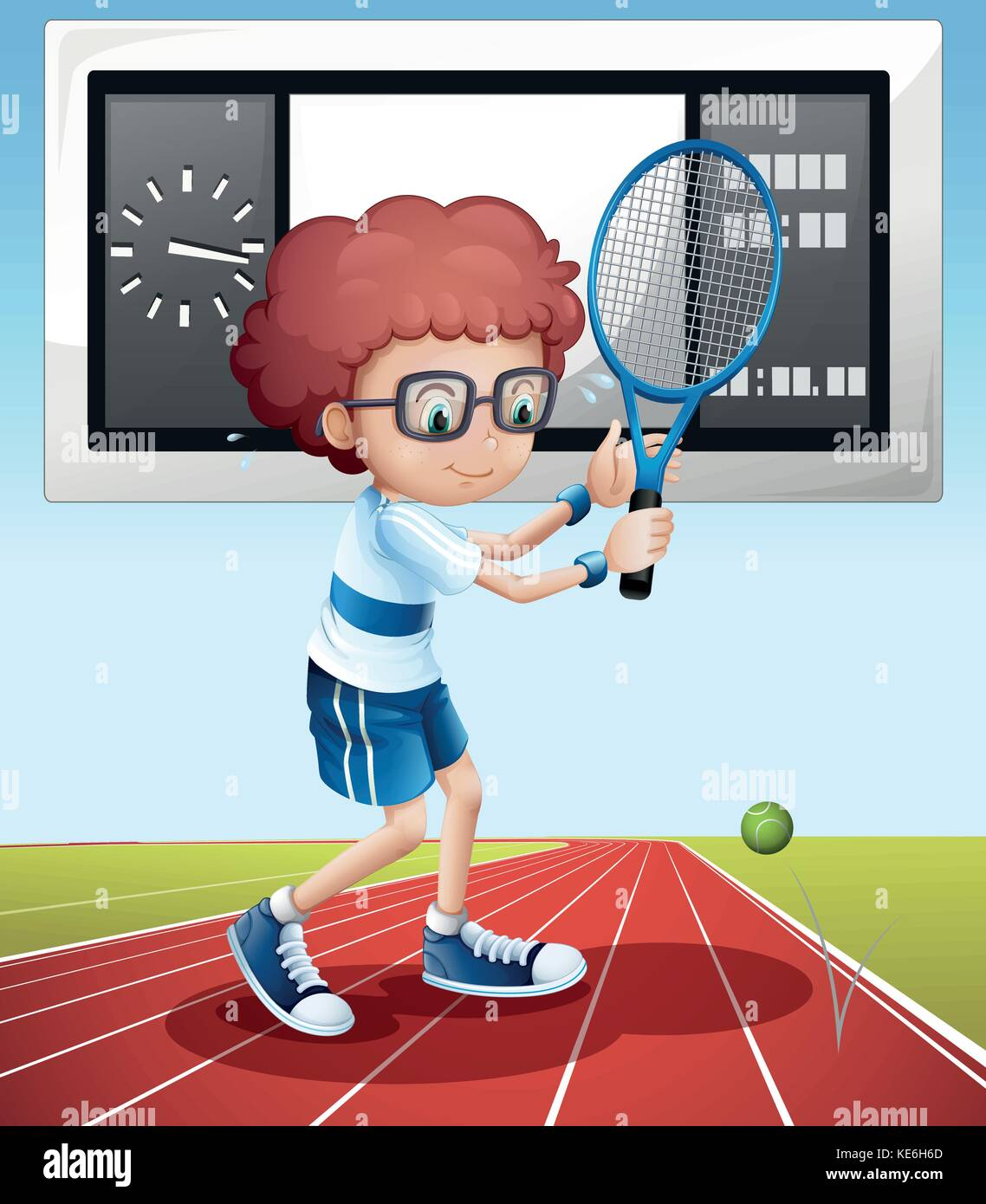 Tennis player in the field illustration Stock Vector