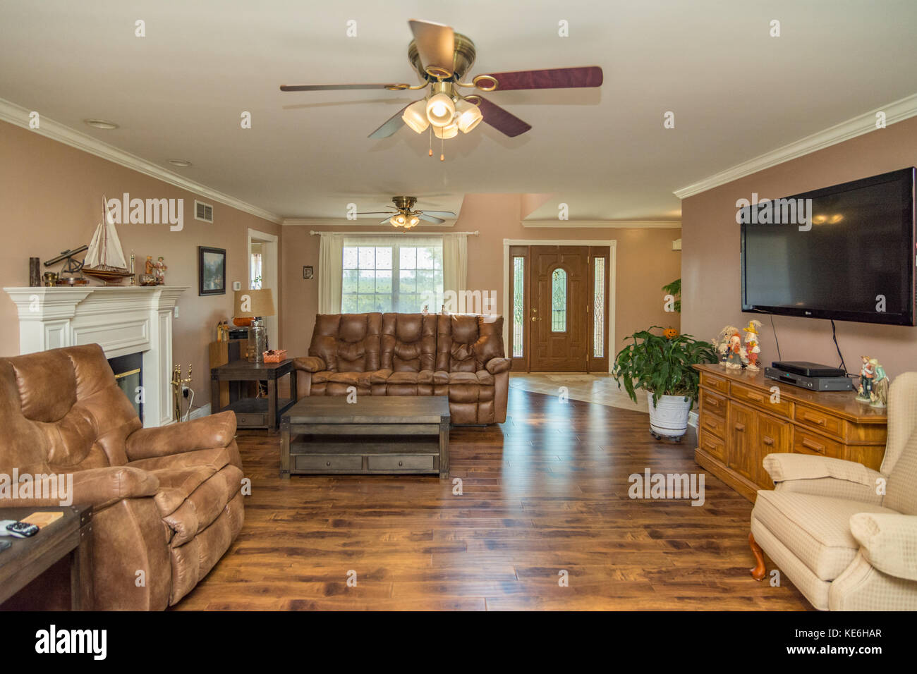 Living Room Interior Of Middle Class American Home In Kentucky Usa Stock Photo Alamy