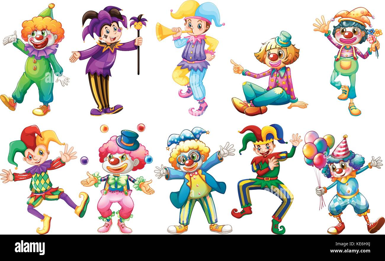 Clowns in different costumes illustration - Stock Vector