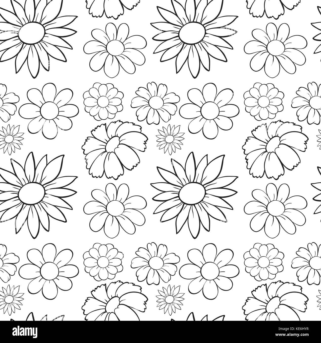 Seamless flowers in draft illustration - Stock Vector
