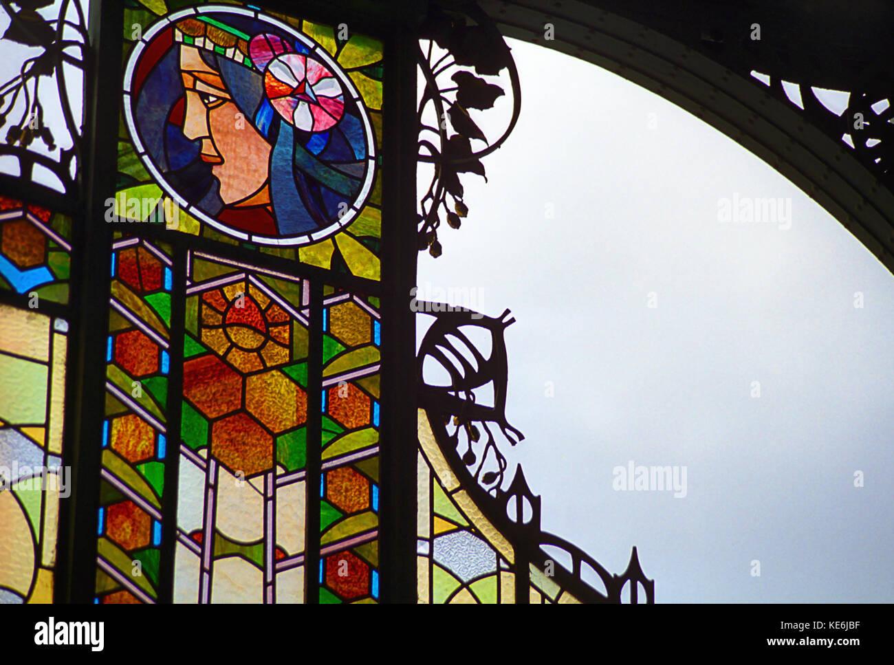 Art Nouveau stained glass by Alfons Mucha over the entrance to the Municipal House (Obecní dům), Prague, Czech Republic Stock Photo