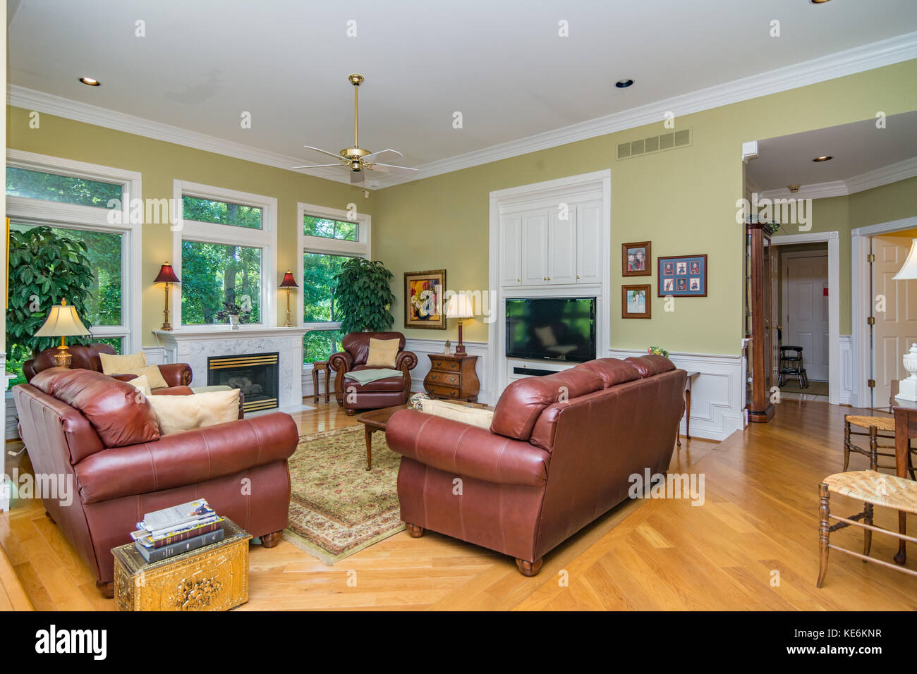 Living room interior of middle class American home in ...