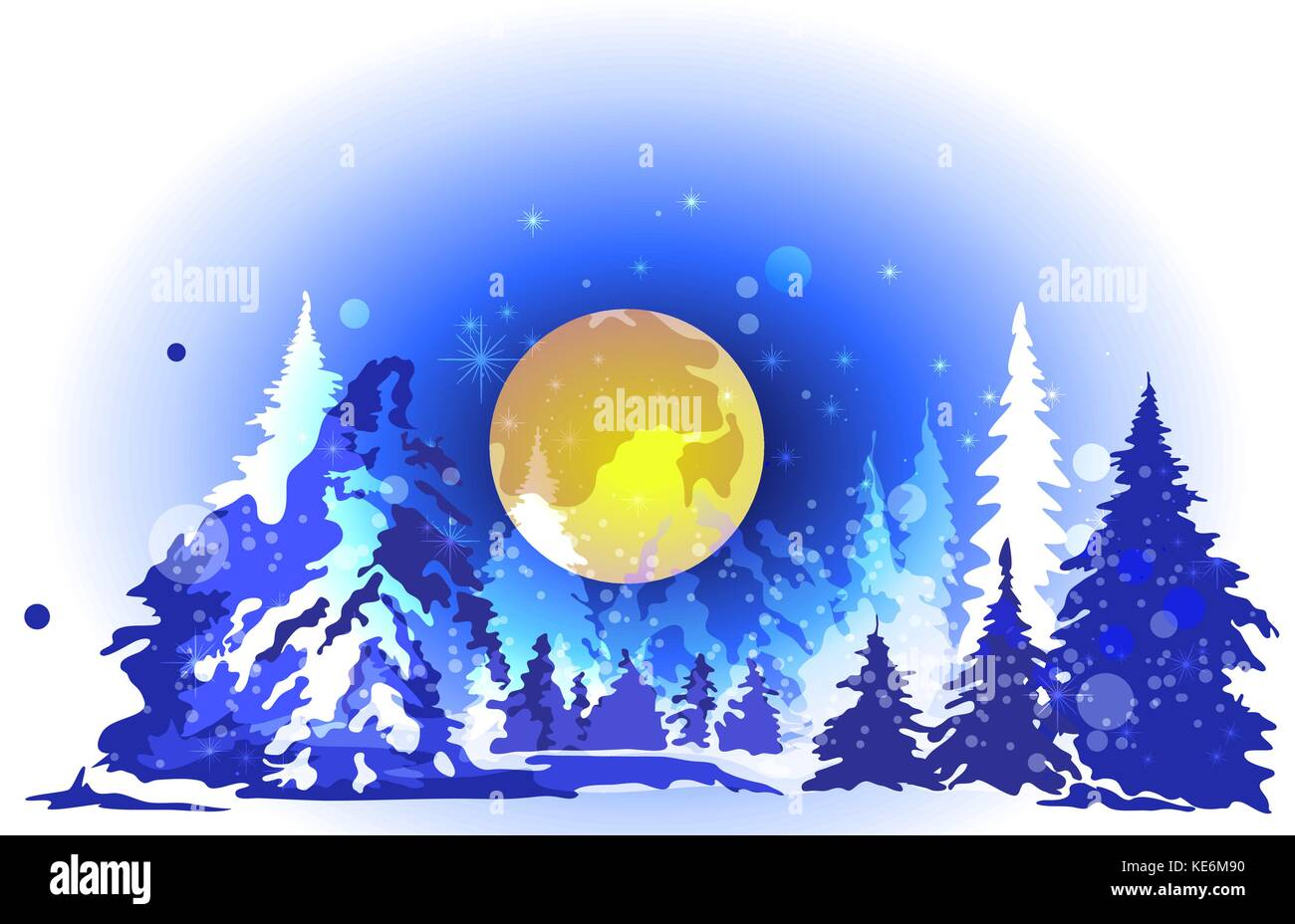 Winter forest, big moon, high spruce, night - Stock Vector