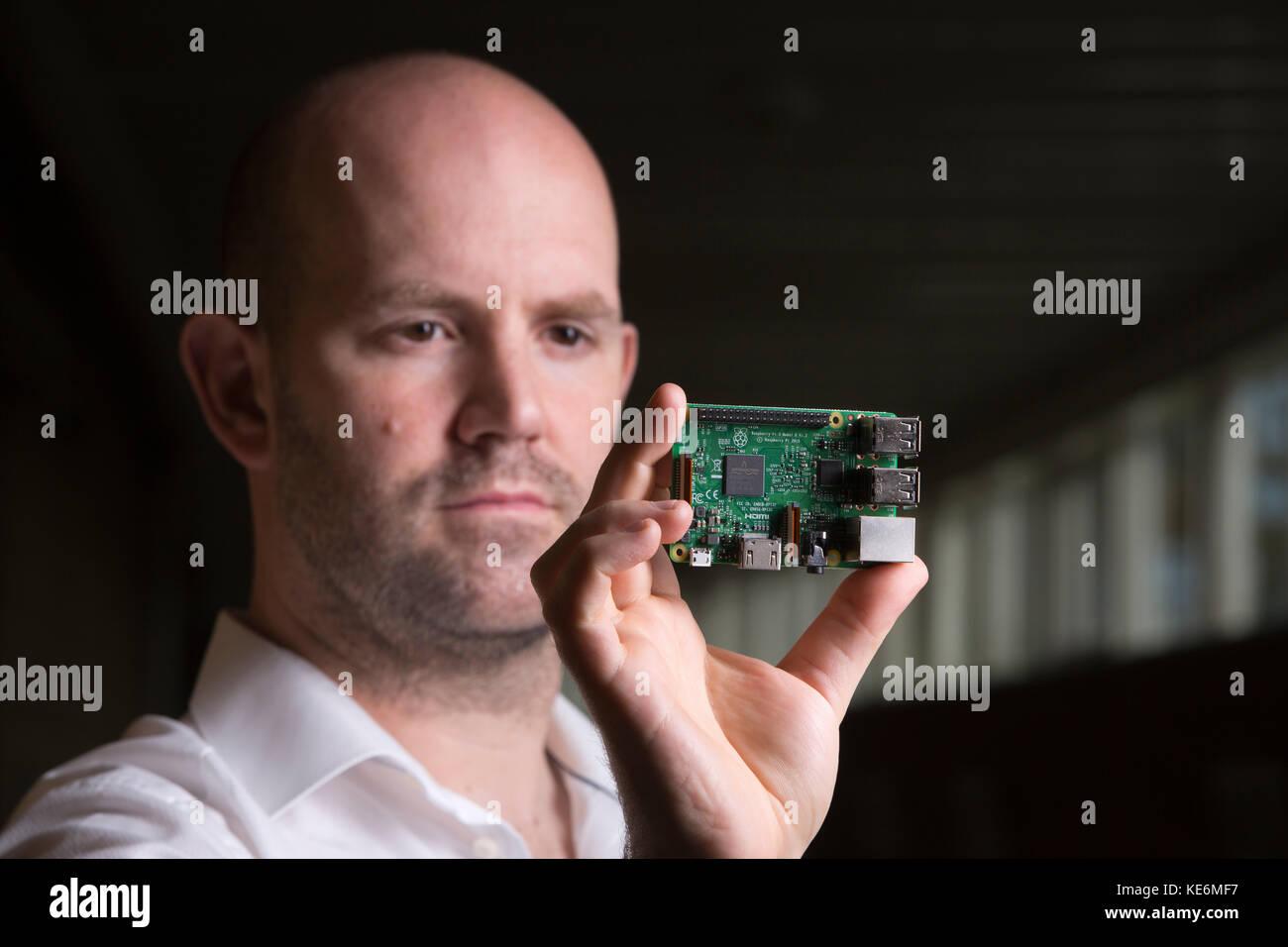 Eben Upton, creator of Raspberry Pi computer, at CamJam event in Cambridge, England, UK - Stock Image