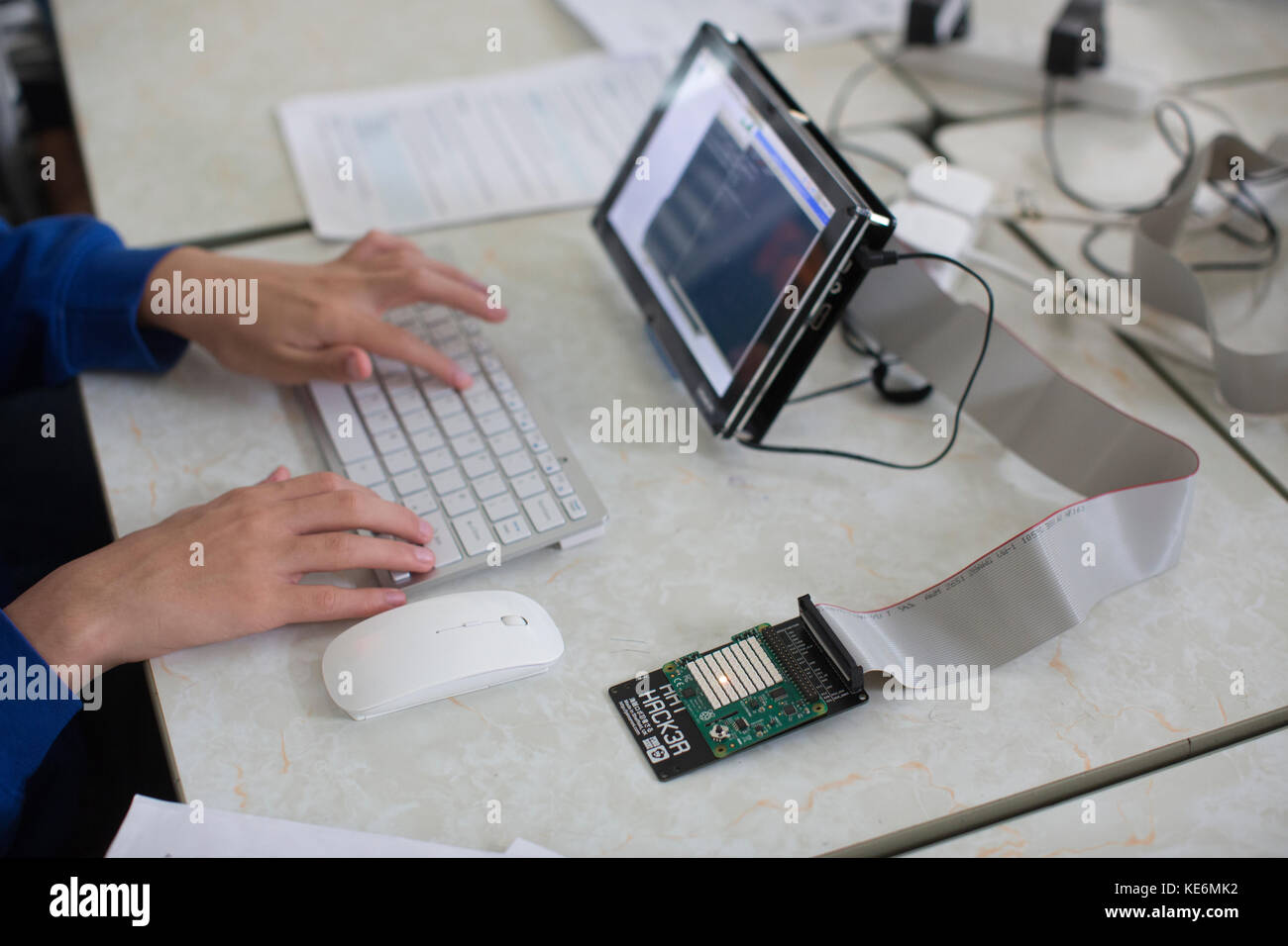 People attending the Cambridge Raspberry Jam, UK-based meet-up for anyone interested in the Raspberry Pi computer, - Stock Image