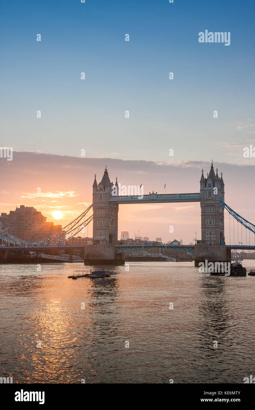 Tower Bridge in the sunrise time , London, England. - Stock Image