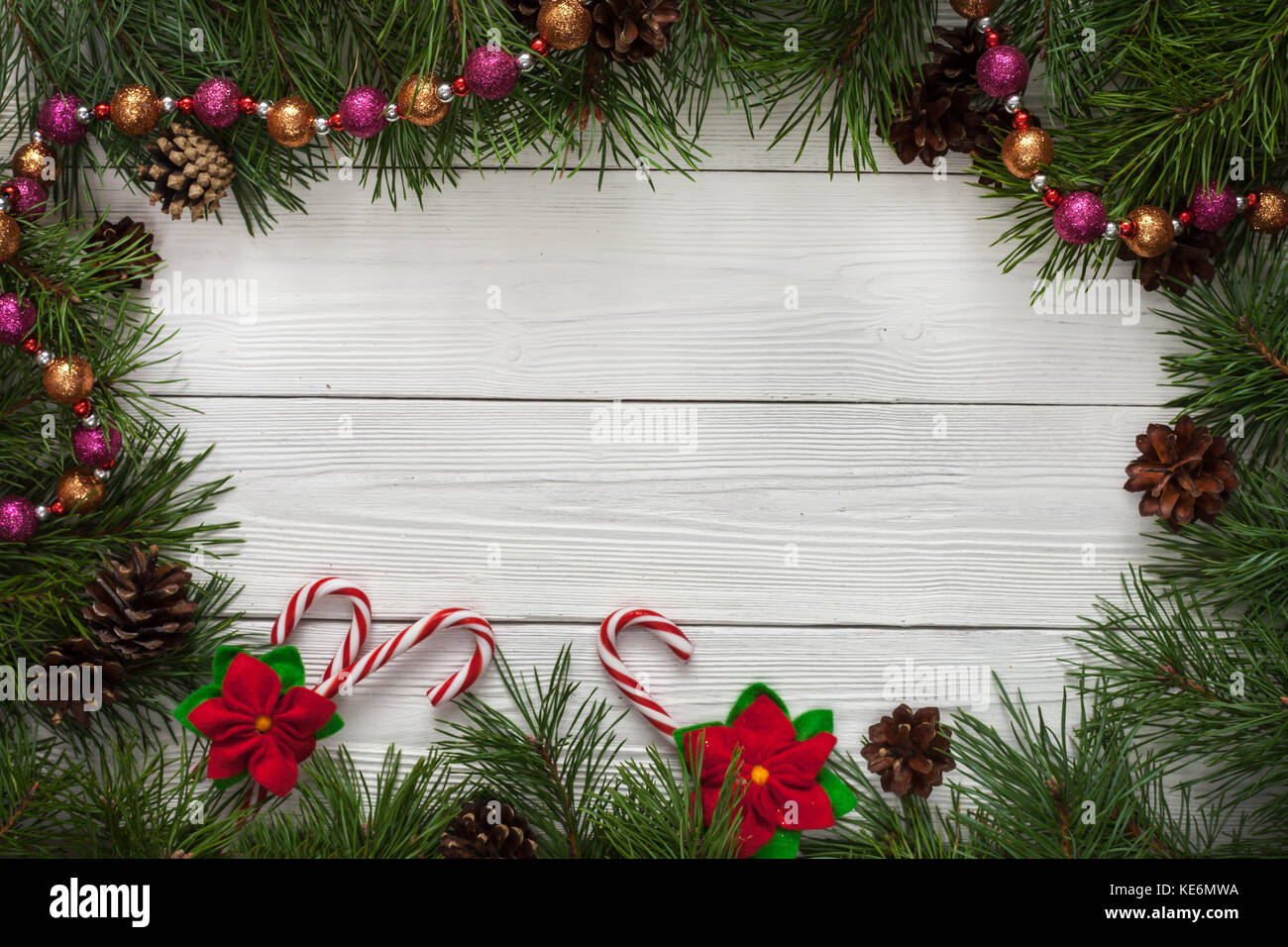 Christmas Card Border.Template For Christmas Card With Fir Tree Border And Copy