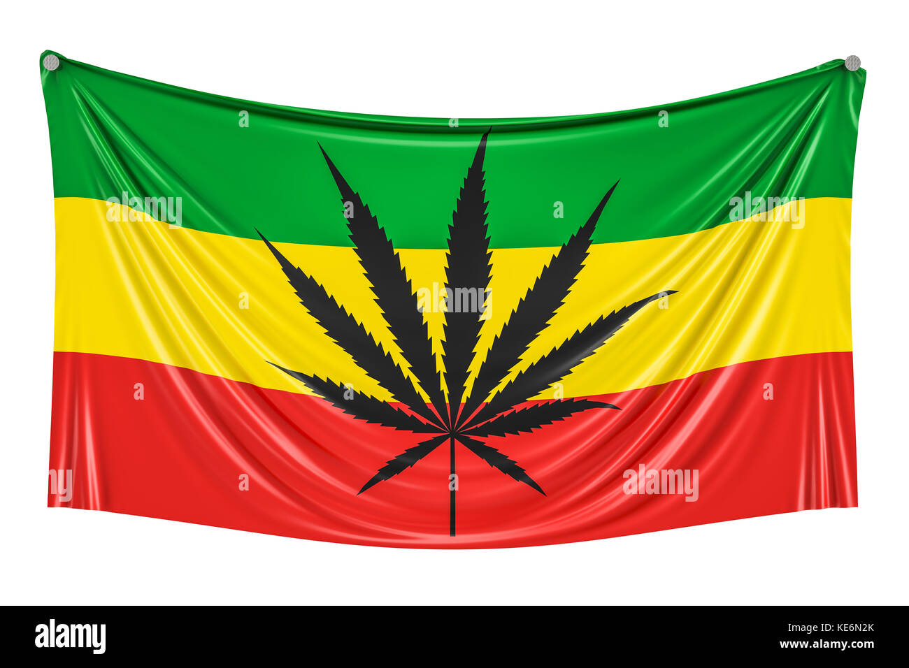 Rasta flag cannabis leaf on rastafarian flag hanging on the wall 3d rendering