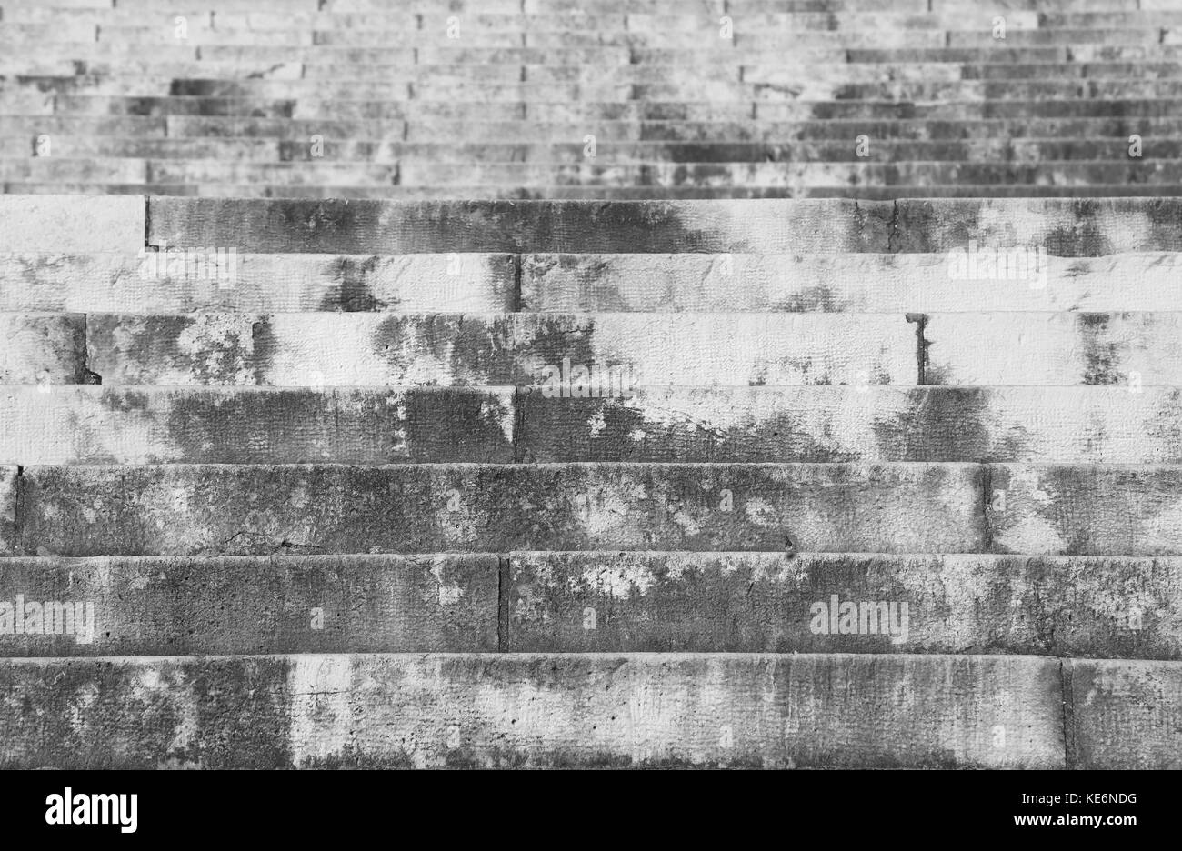 many gray steps of stairway with black and white effect - Stock Image