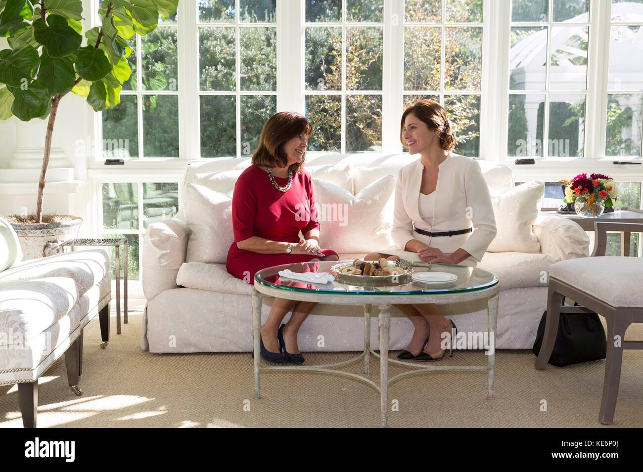 Karen Pence, left, wife of U.S. Vice President Mike Pence, has tea with Dr. Betty Baizana, wife of Greek Prime Minister - Stock Image