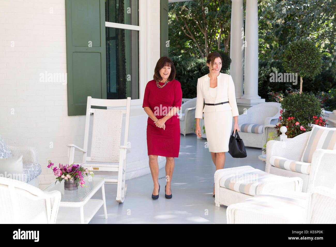 Karen Pence, left, wife of U.S. Vice President Mike Pence, walks with Dr. Betty Baizana, wife of Greek Prime Minister - Stock Image