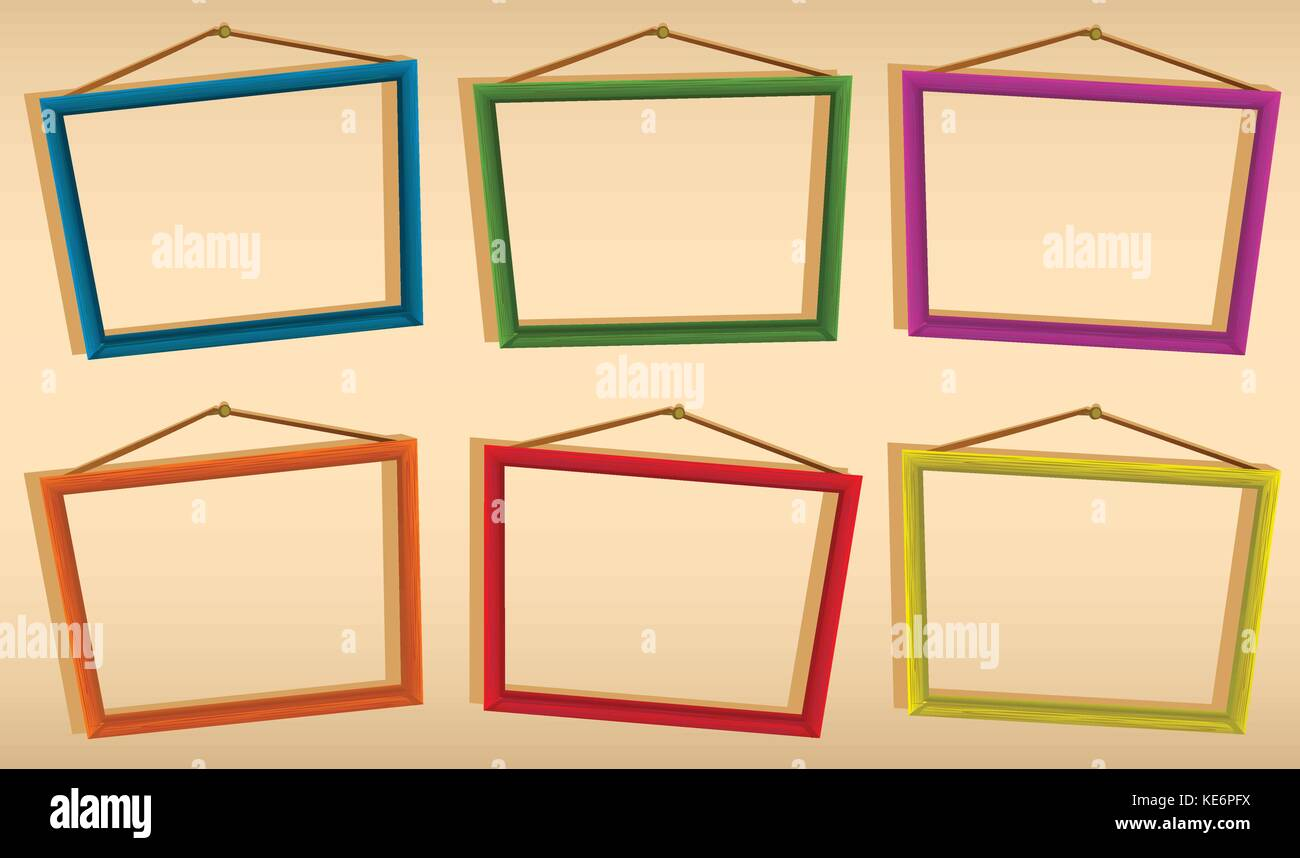 Six wooden frames hanging on the wall Stock Vector Art ...