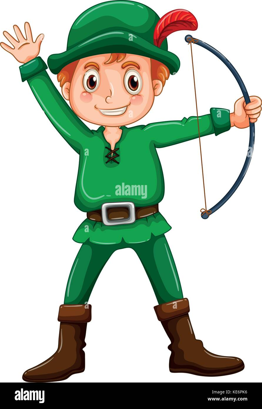 Boy in a robin hood costume on white background  sc 1 st  Alamy & Boy in a robin hood costume on white background Stock Vector Art ...