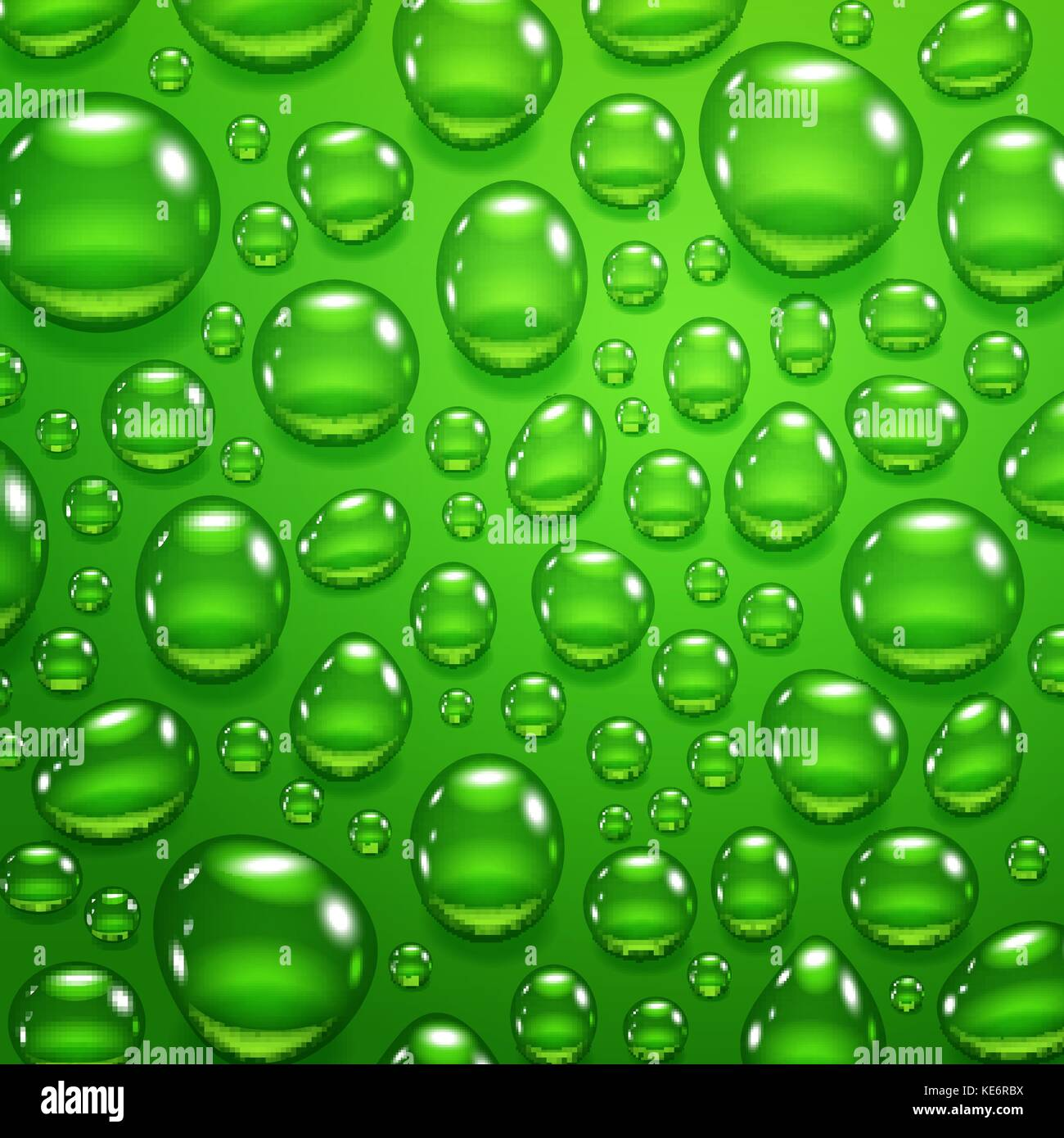 Water drops on green background - Stock Vector