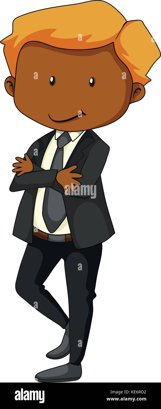 Poster of a man in a bussiness attire standing with arm crossed - Stock Vector