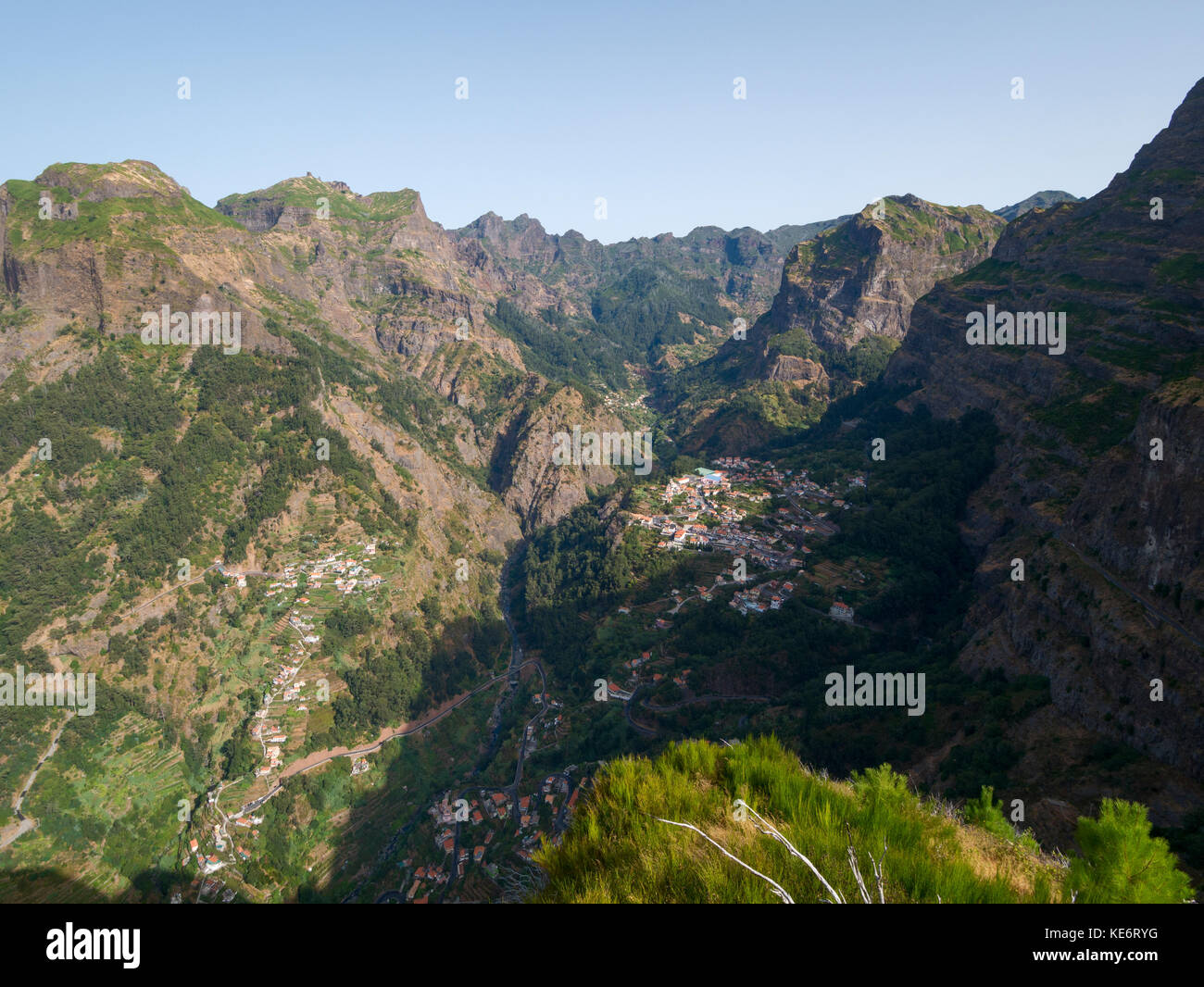 The tiny town of Curral Das Freiras hidden in the mountains of Madeira known as the Nun's Valley - Stock Image