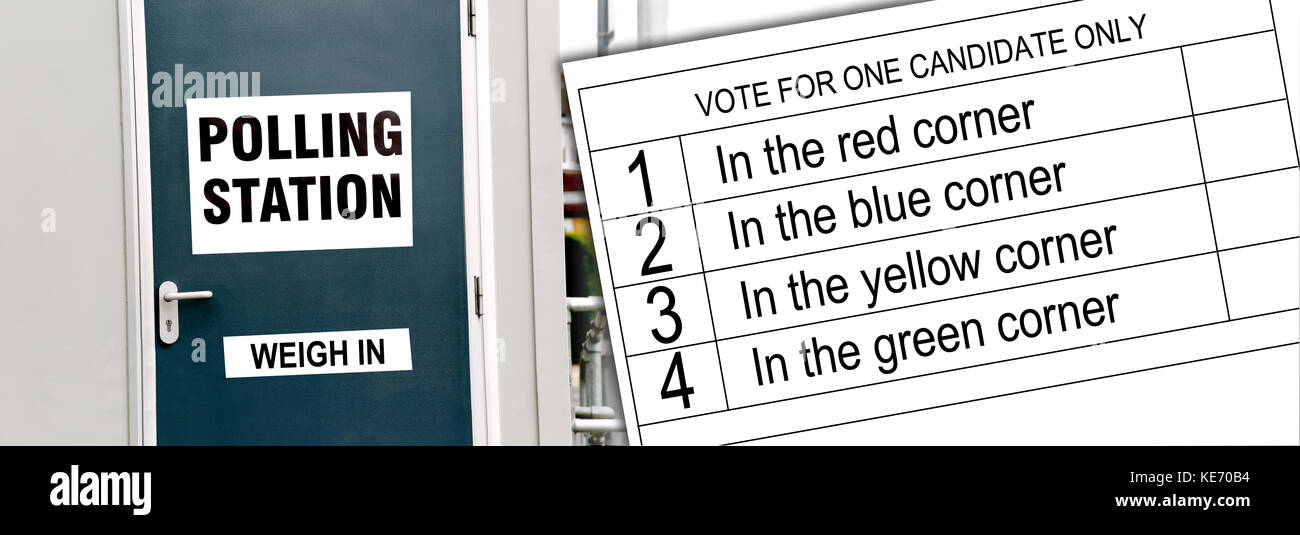 A (slightly) humorus take on voting. Image shows a Polling Station door with a 'weigh in' instead of 'way - Stock Image