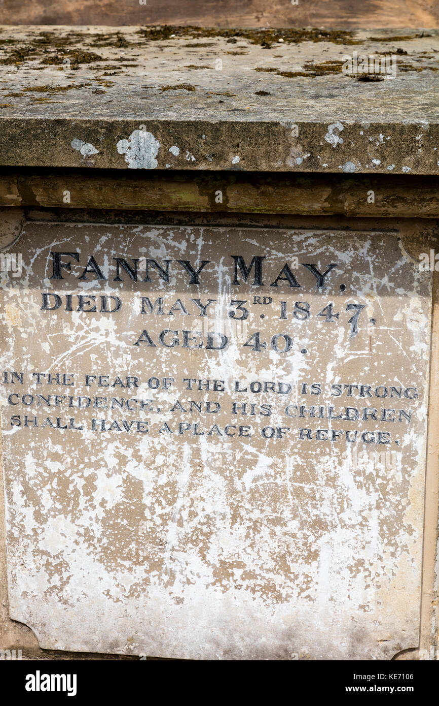 Grave in the churchyard St Andrew's at Sonning, dedicated to Fanny May, Died May 3rd 1847, aged 40, Berkshire, - Stock Image