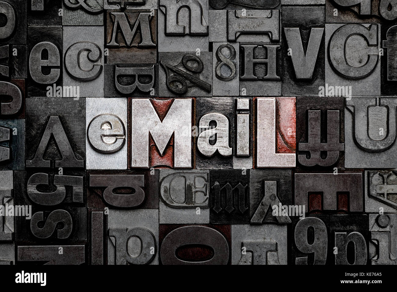 The word eMail made from old metal letterpress letters - Stock Image