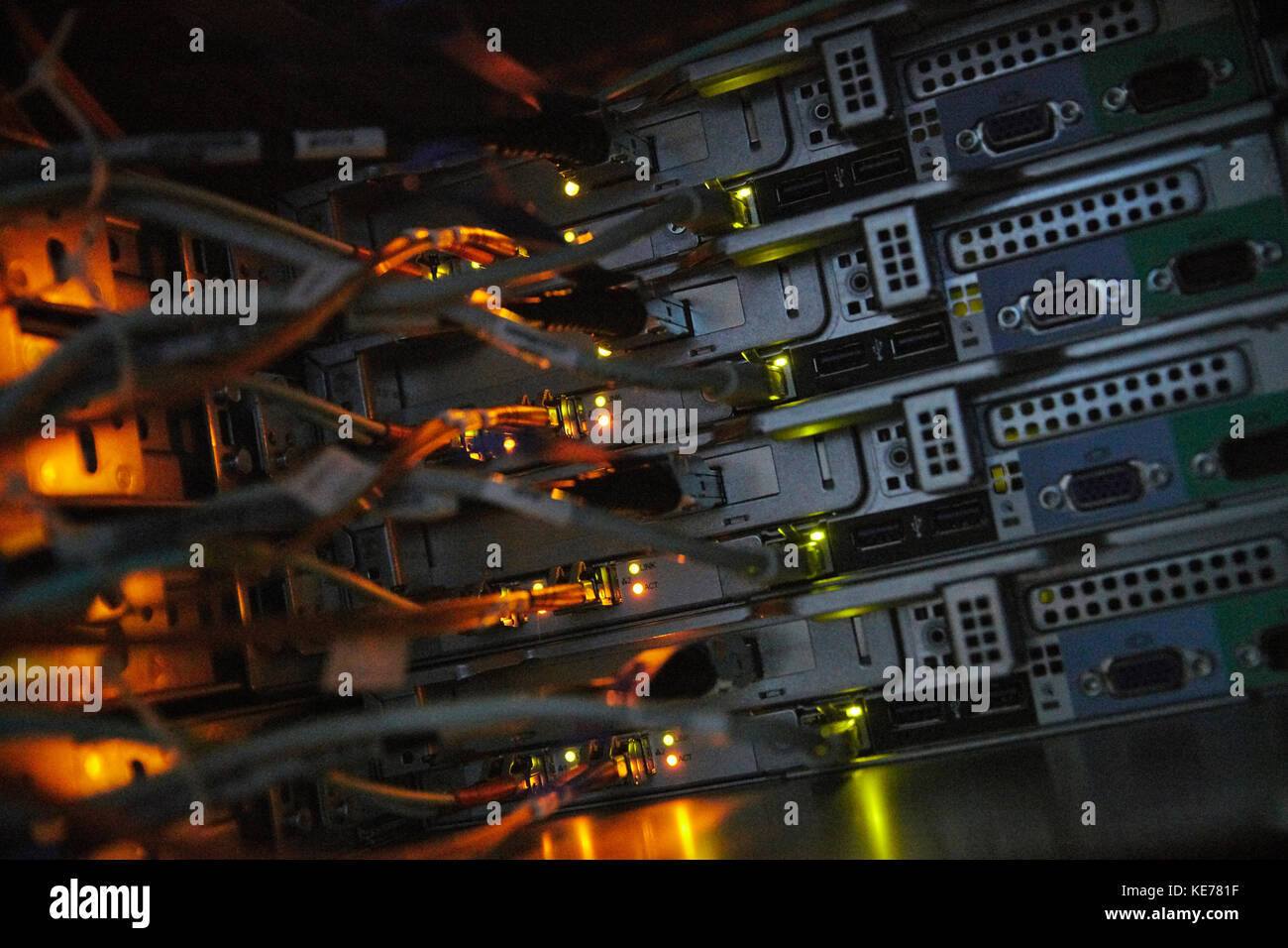 Server panels and cables - Stock Image