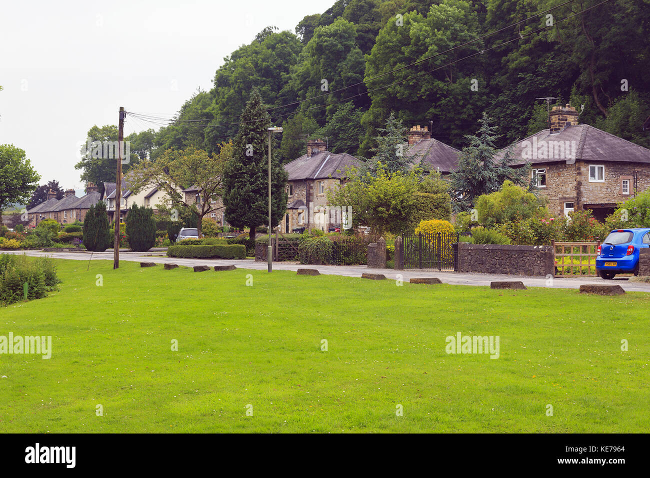 Old Mill Cottages Bakewell Derbyshire - Stock Image