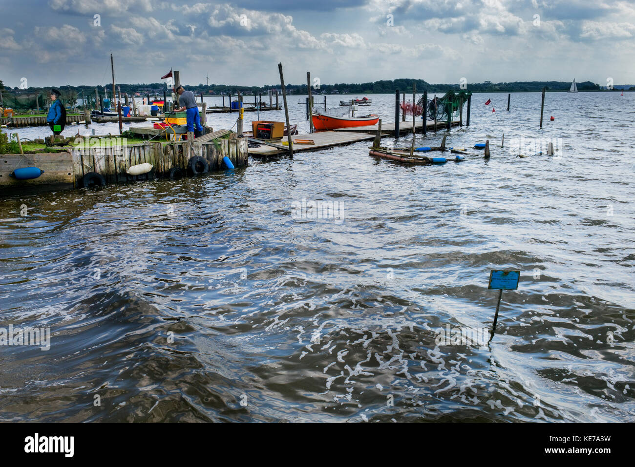 private coastal fishing moorings Holm Schleswig, Schleswig-Holstein, Germany - Stock Image