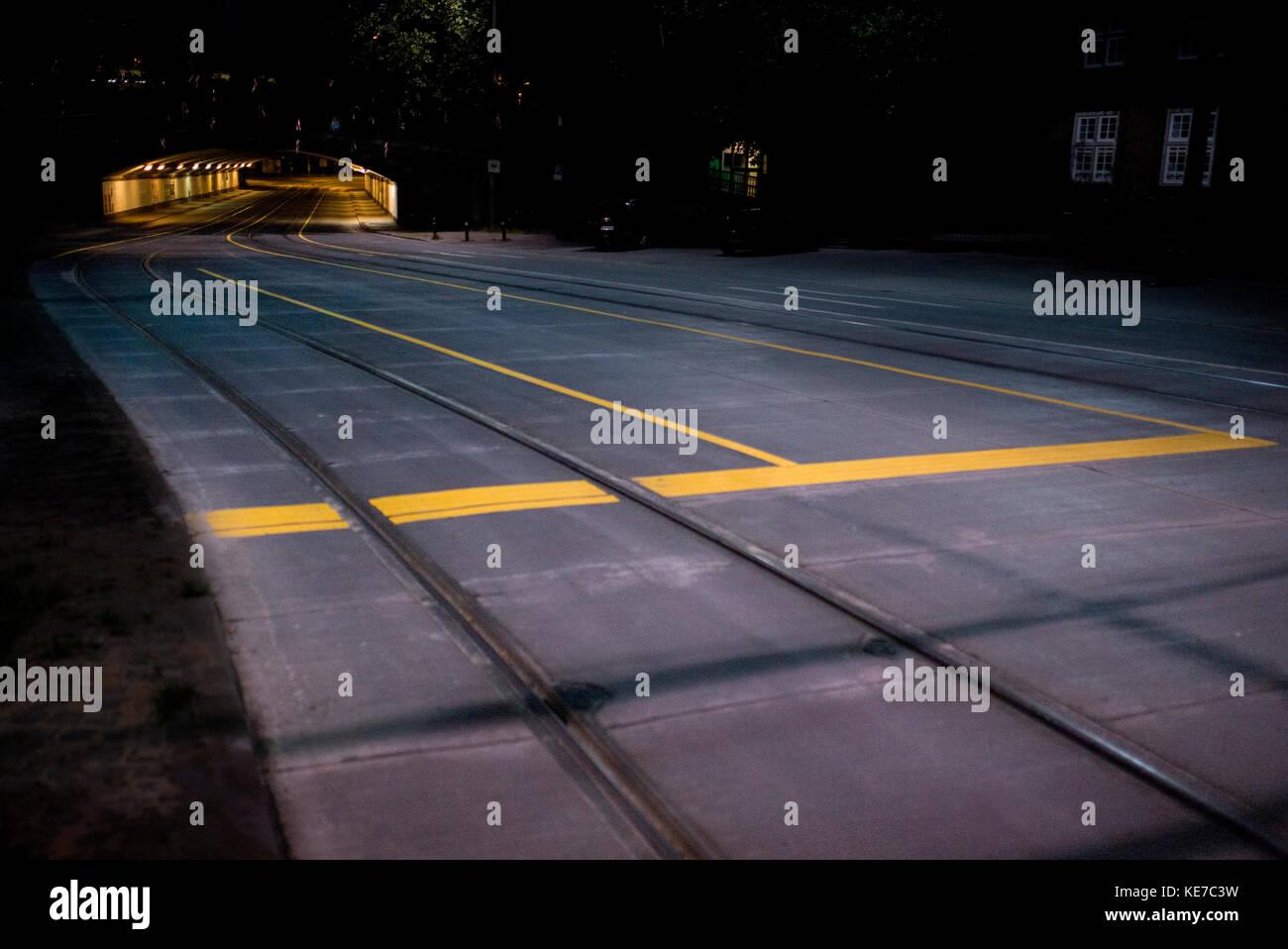 night time view of road tunnel ,underpass,near Bremen Hauptbahnhof rail station Bremen Germany - Stock Image
