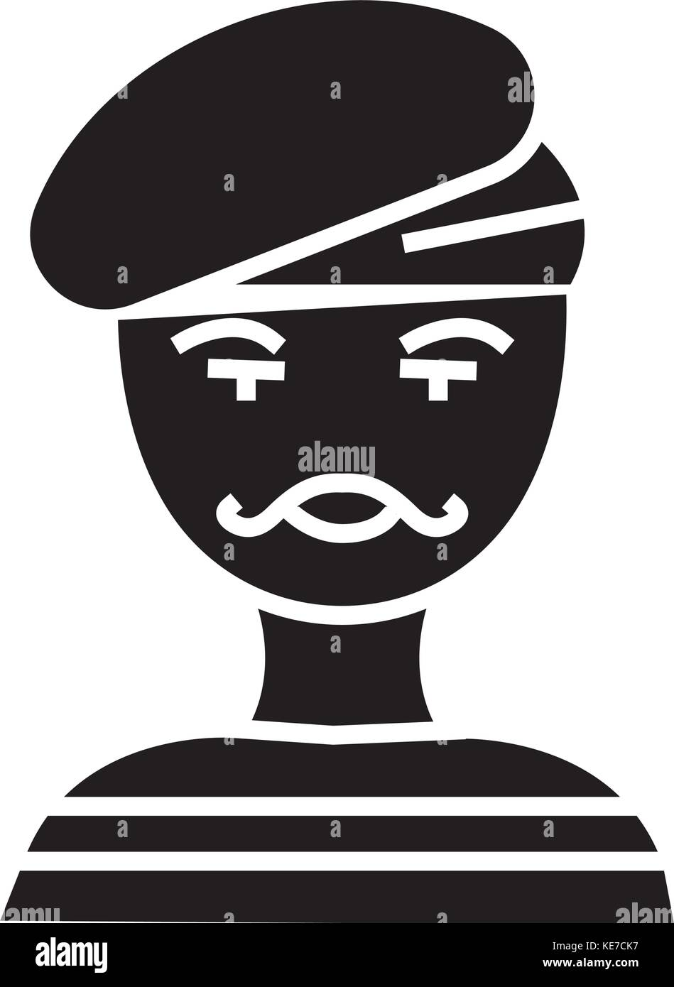 french man - artist - mime icon, vector illustration, black sign on isolated background - Stock Image