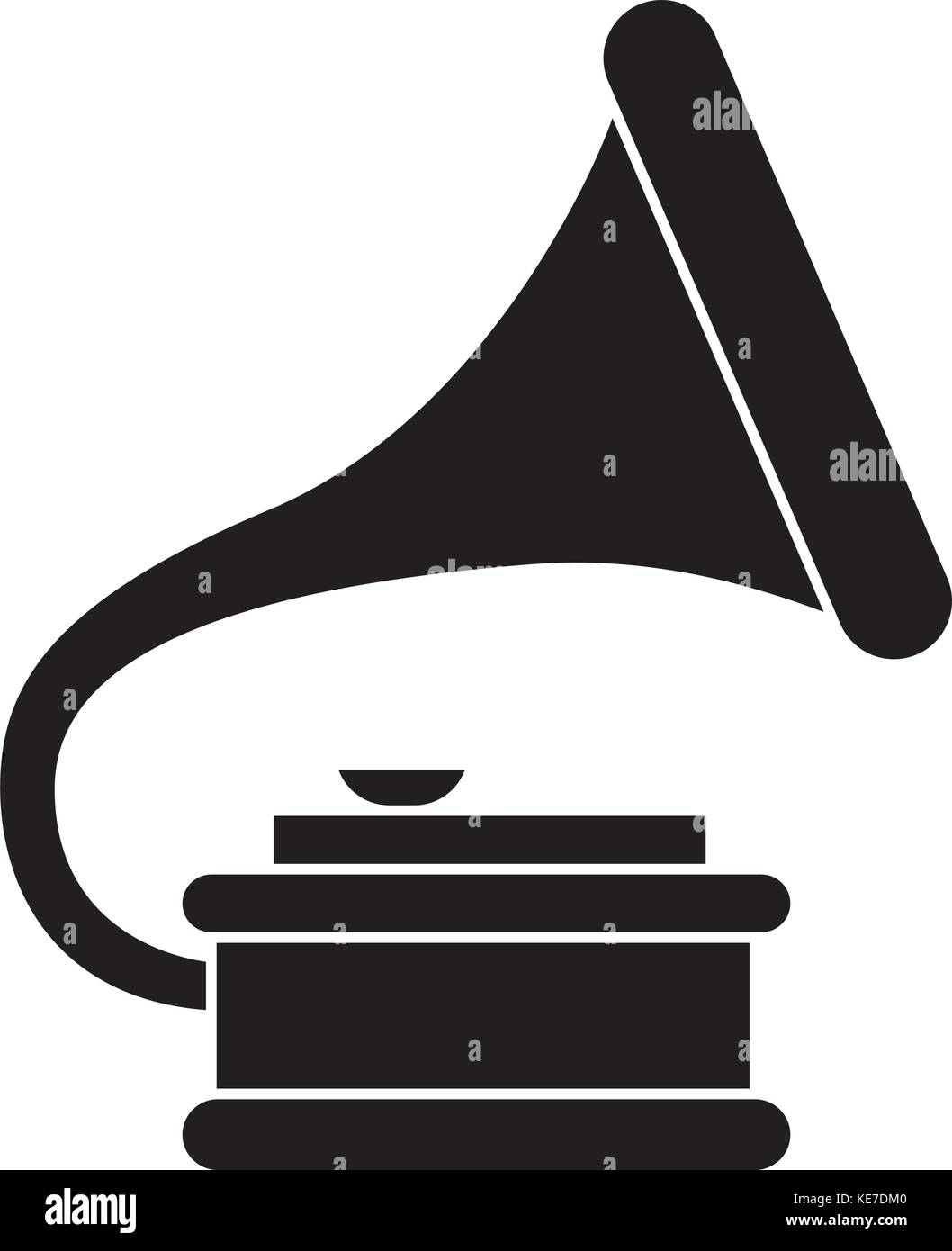 gramophone 2 icon, vector illustration, black sign on isolated background - Stock Vector