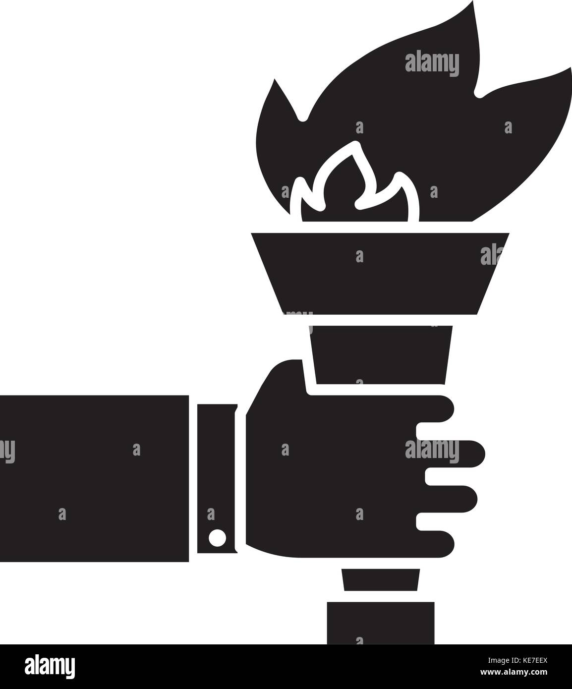 hand with fire torch - achieving goal icon, vector illustration, black sign on isolated background - Stock Vector