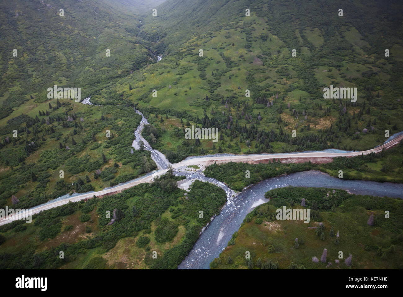 Williamsport-Pile Bay Portage Road And Chinkelyes Creek, Chigmit Mountains; Alaska, United States Of America - Stock Image