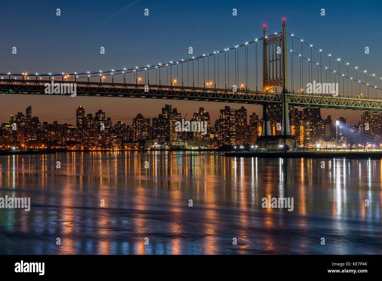 Rfk Triboro Bridge At Twilight; New York City, New York, United States Of America - Stock Image