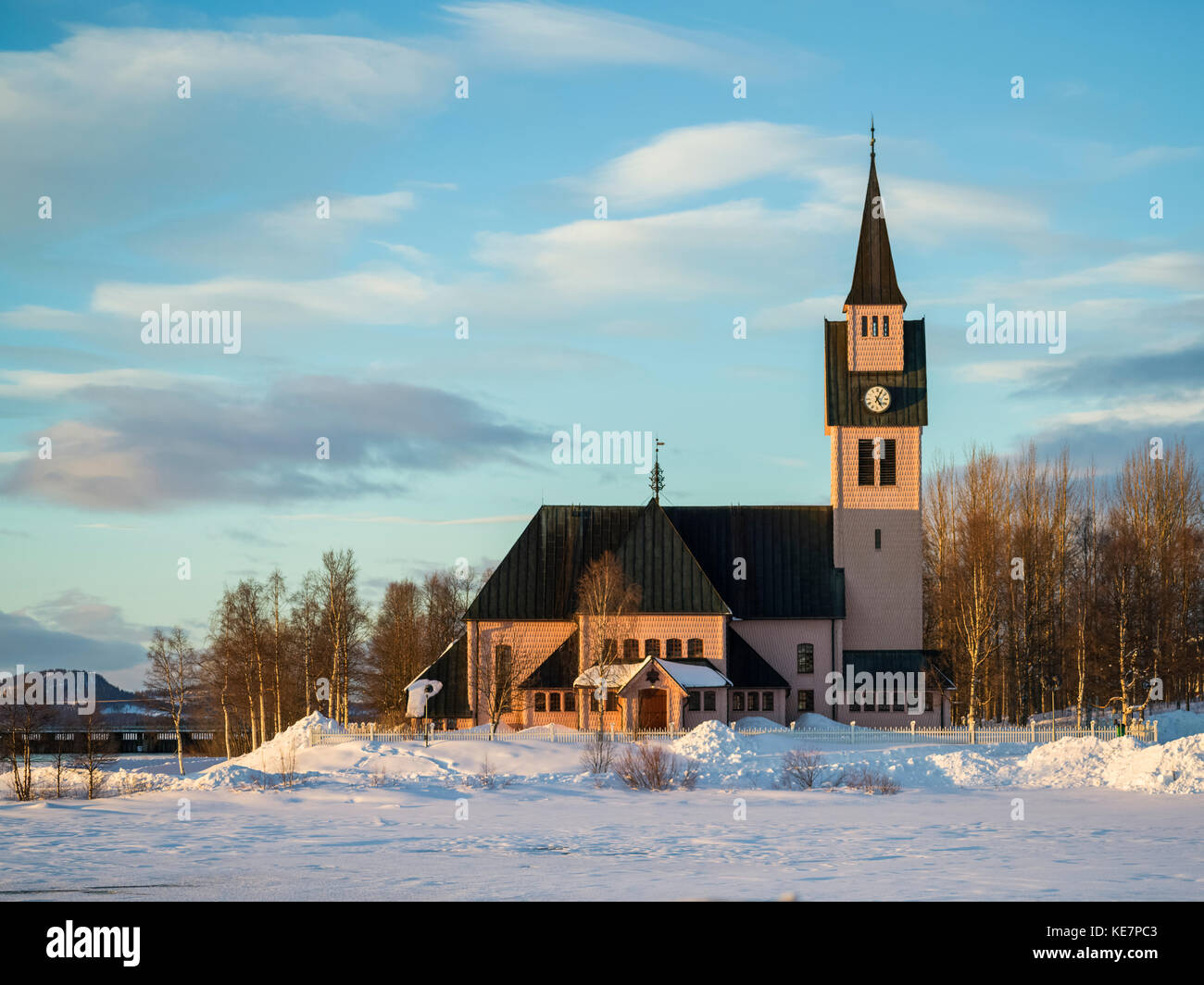 Arjeplog Church, The Pretty Pink Church; Arjeplog, Norrbotten County, Sweden - Stock Image