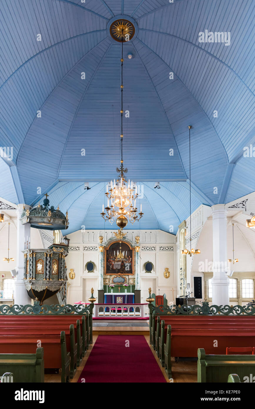 Interior Of Arjeplog Church, The Pretty Pink Church; Arjeplog, Norrbotten County, Sweden - Stock Image