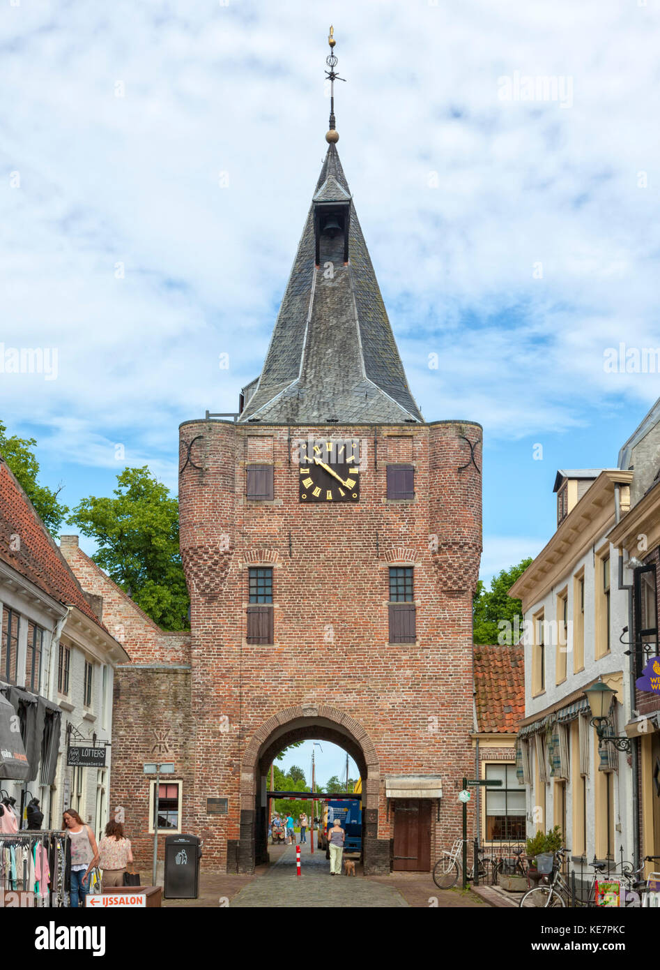 Vischpoort city gate at Elburg, The Netherlands - Stock Image