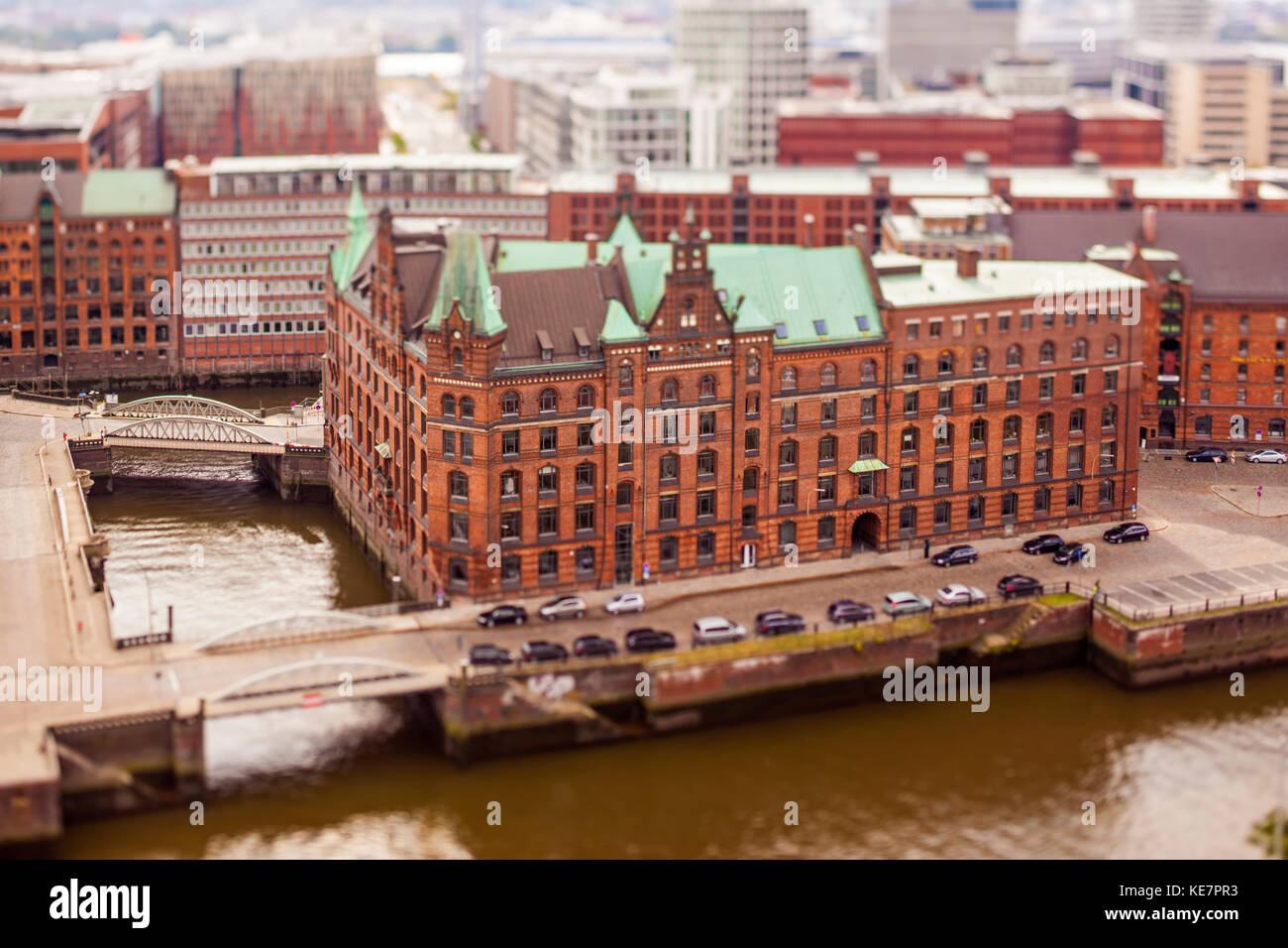 Historic warehouse at Speicherstadt Hamburg, Tilt-Shift Photography - Stock Image