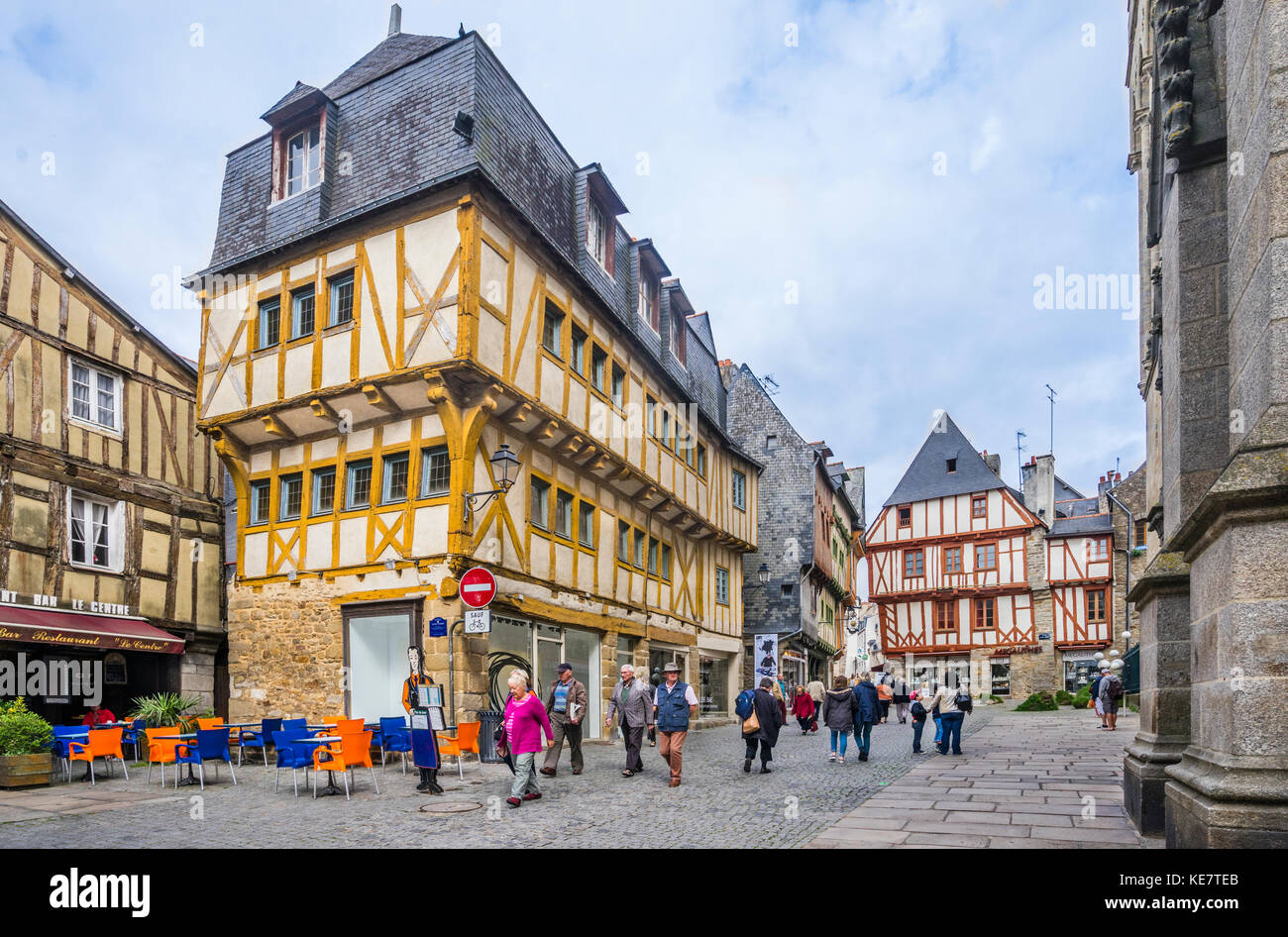 France, Brittany, Morbihan, Vannes, Place Saint-Pierre, Museum of the Cohue, a Fine Arts Museum in a medieval hall - Stock Image